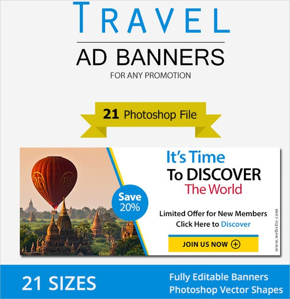 premium travel ad banners psd format download