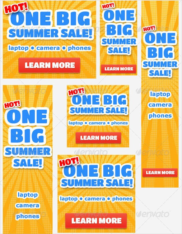 funky summer sale banner ad template in psd