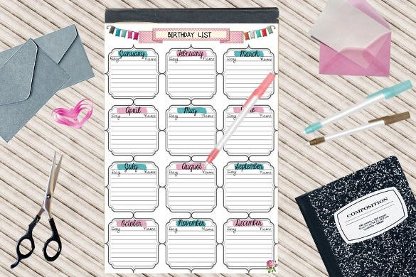 print ready birthday list template