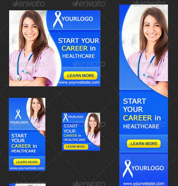 download medical career banner ad template psd editable