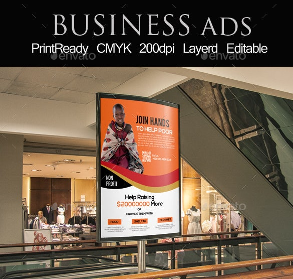 Charity Event Bus Stop Banner Ad Template PSD Download