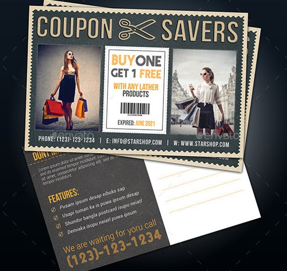 marketing via postcard coupon template