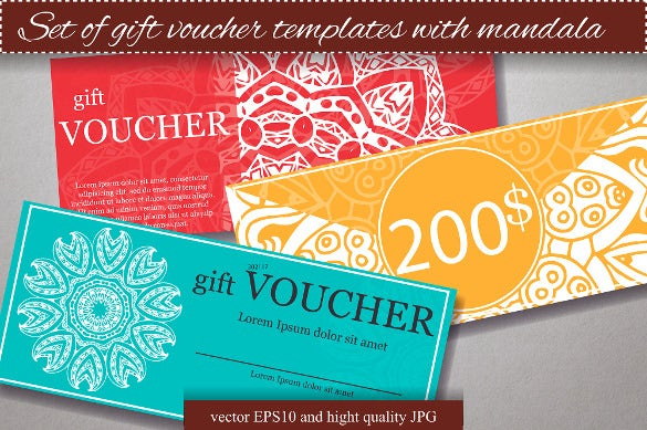 design certificate gift voucher template with mandala