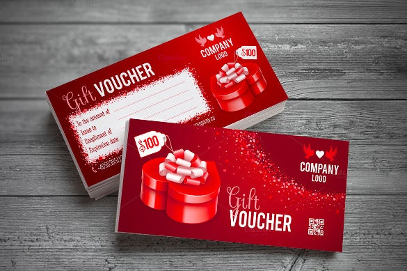 red gift box in heart shape gift voucher template