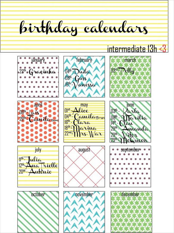 Birthday Calendar Templates  Free Sample Example Format