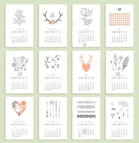 hand drawn birthday calenar template