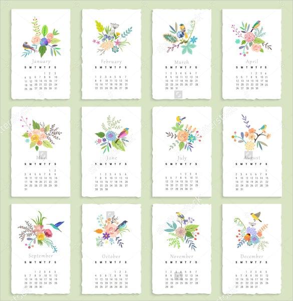 birthday calendar template with flowersbirds