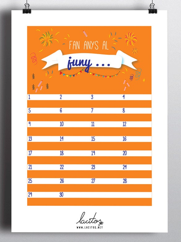 colorful background birthday calendar template