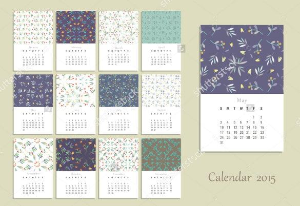birthday calendar template with flowersberries