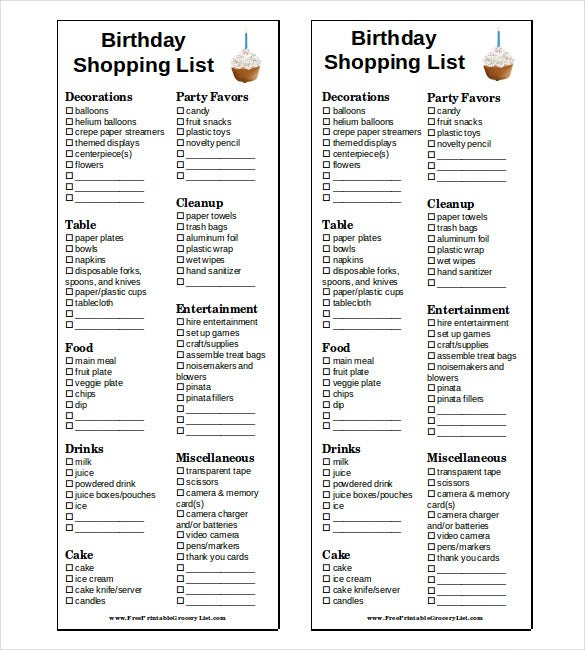 birthday shopping list word doc free download