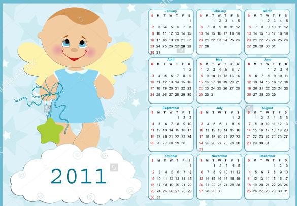 kids birthday calendar template