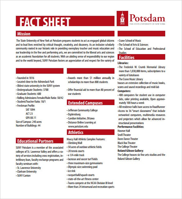 Free Fact Sheet Template Pdf Format Printable