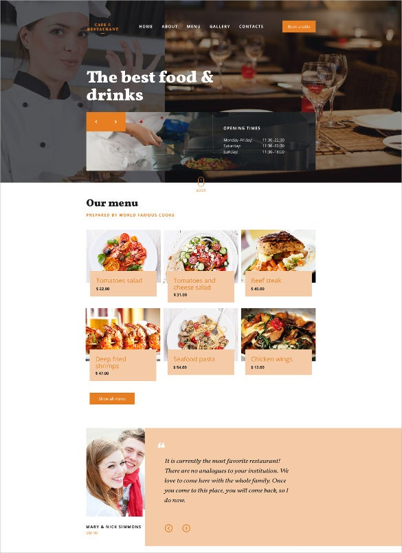 cafe restaurant responsive website html5 template