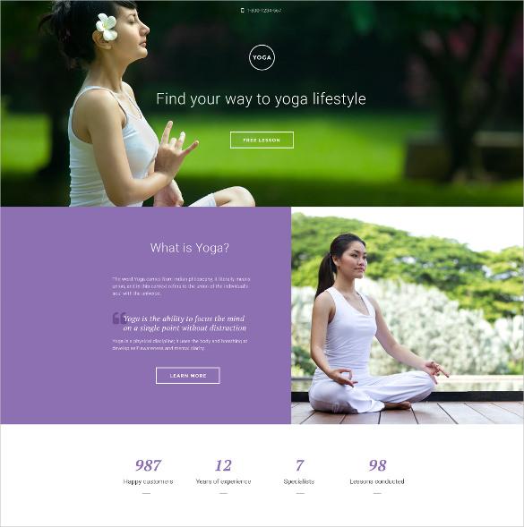 yoga responsive landing page html5 template