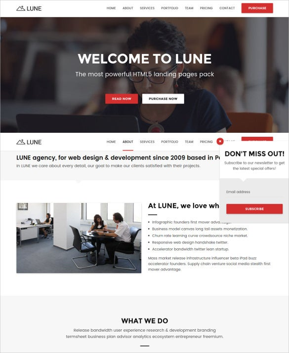 html5 landing pages pack template