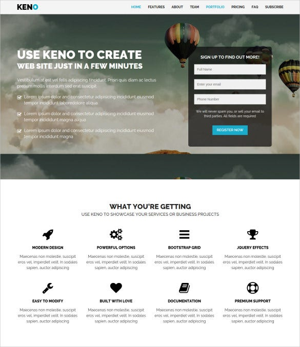 flexible responsive html5 landing page template