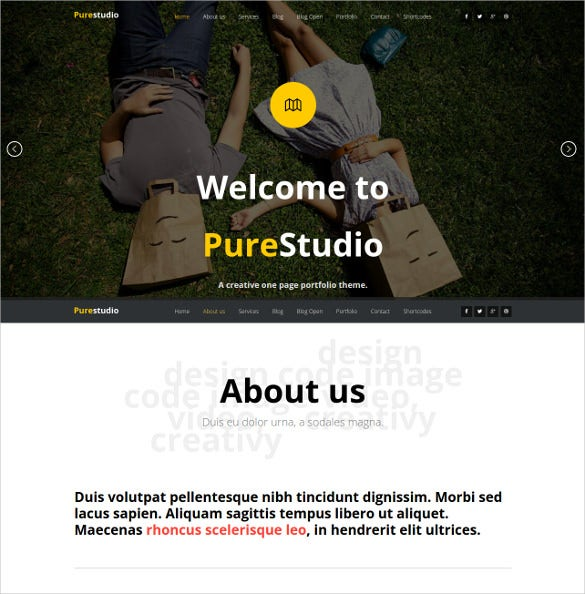 html5 one page studio template