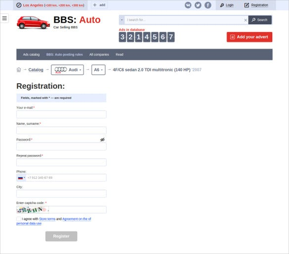 auto – car selling registration template