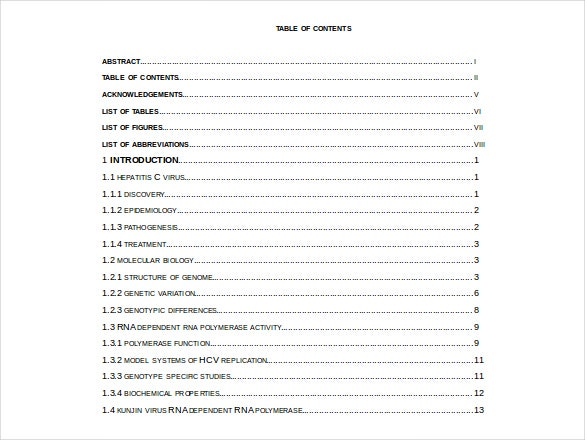 Order of contents for dissertation for Table of contents apa style template