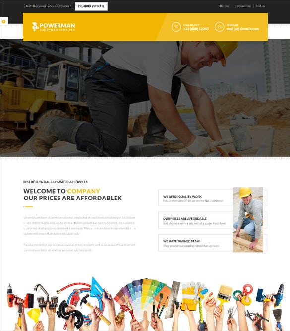 powerman handyman services drupal theme
