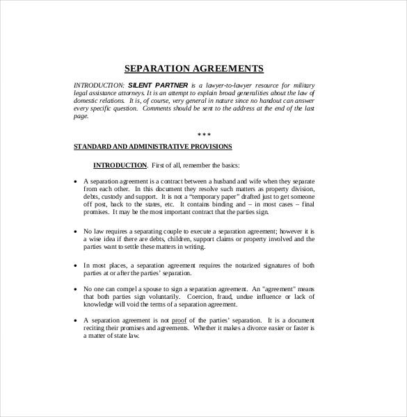 Separation agreement template 13 free word pdf for Silent partner contract template