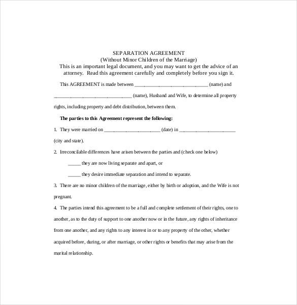 Separation Agreement Template   Free Word Pdf Document