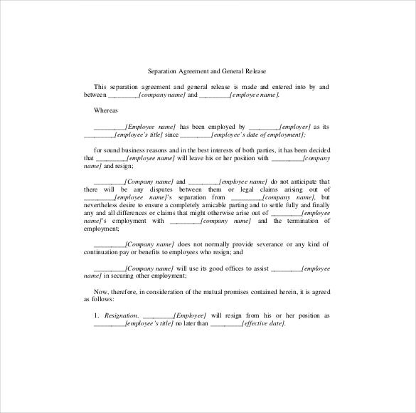 Separation Agreement Template   Free Word Pdf Document Download