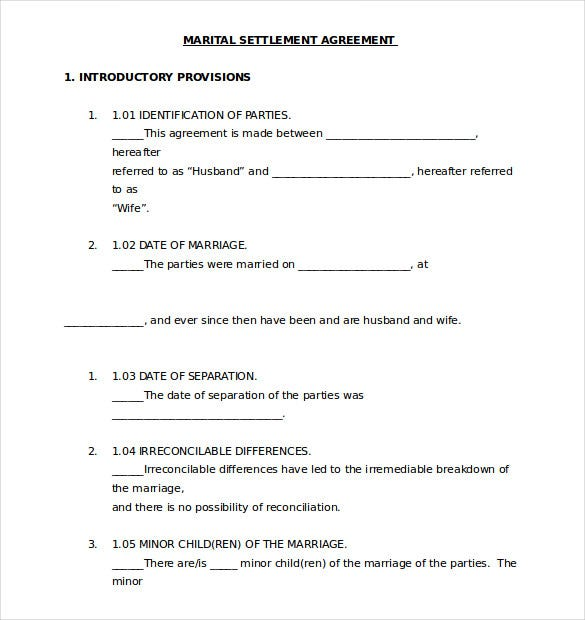 divorce agreement template canada - separation agreement template 13 free word pdf