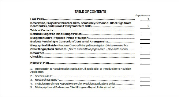 research grant table of content free doc format template