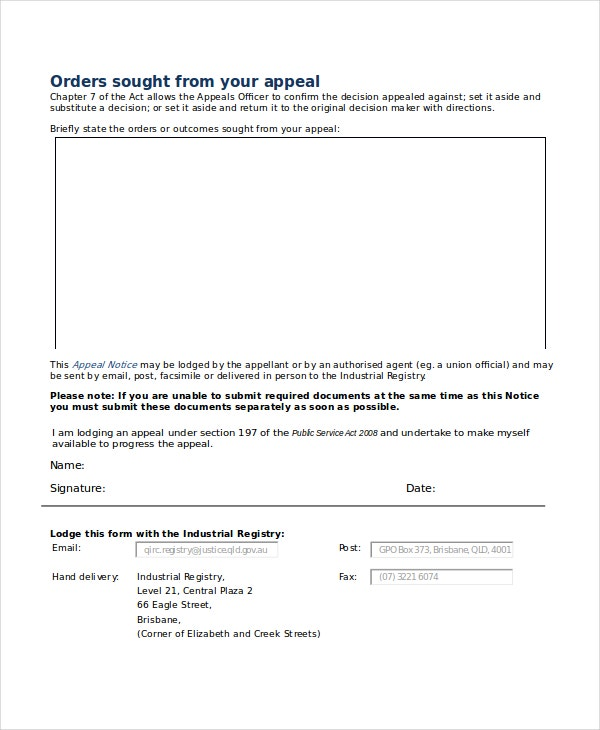 Appeal Notice Template