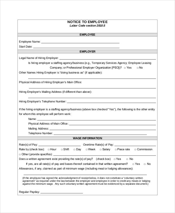 Employment Notice Template