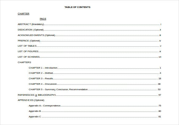 turabian template for word - table of contents apa format thesis