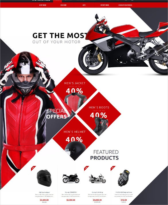 motorcycle opencart blog template