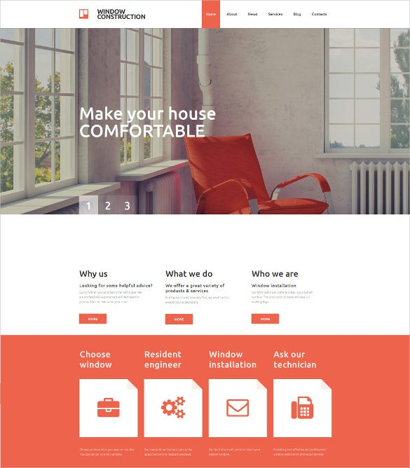 windows doors responsive moto cms 3 blog template