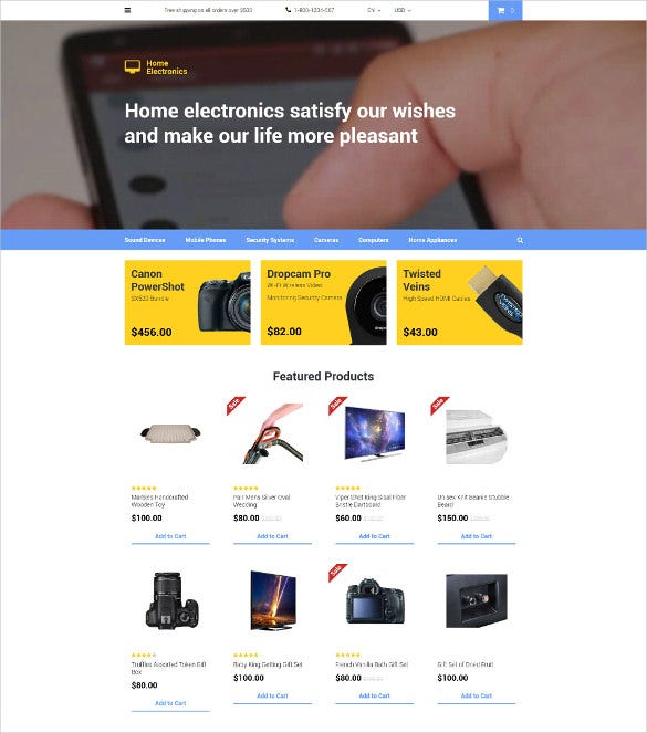 home electronics opencart blog template