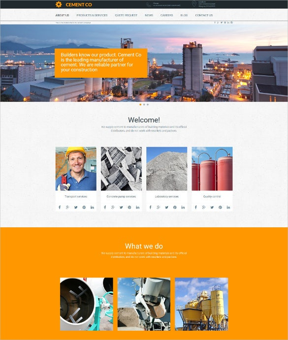 cement responsive moto cms 3 blog template