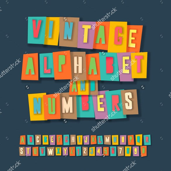 vintage alphabet and numbers stylish colorful paper craft design