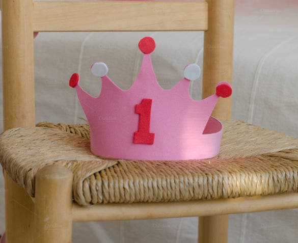 pink birthday crown template free download