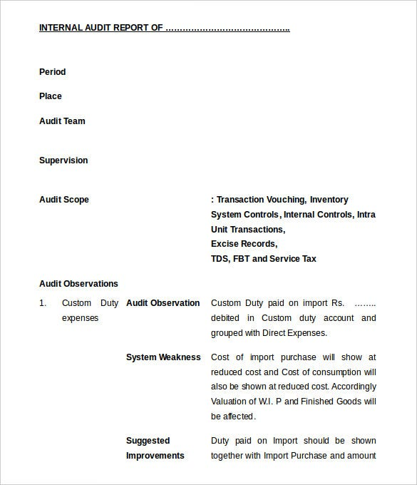 Freee Download Internal Audit Report Format Editable  Audit Format