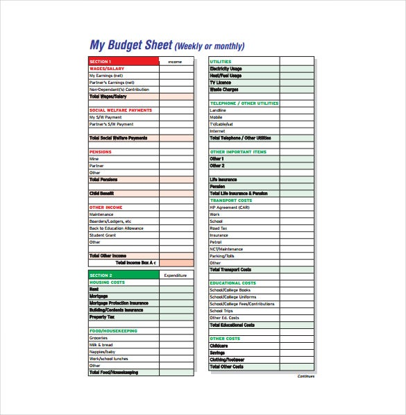 Budget Sheet Templates  Free Sample Example Format Download