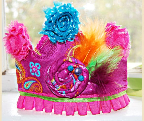 colorful birthday crown template