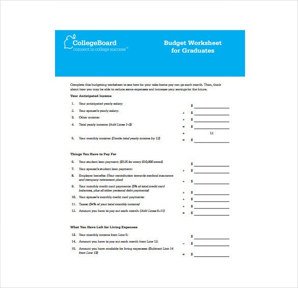 budget worksheet for graduates pdf format free download