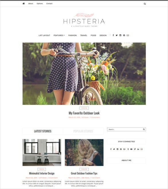 hipsteria fashion lifestyle wordpress blog theme