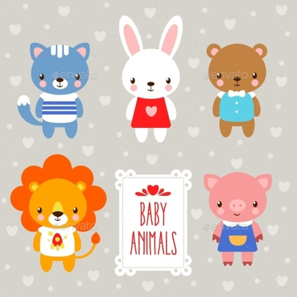 baby animals eps vector template download