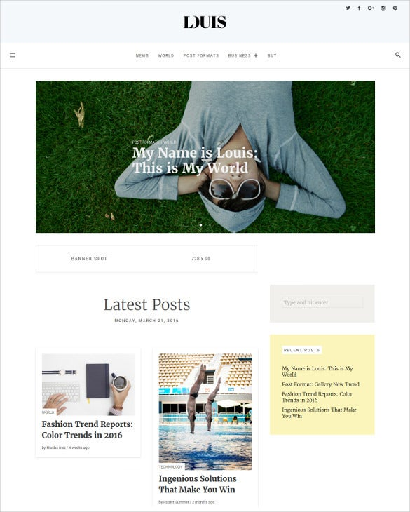 louis modern simple wordpress blog magazine theme