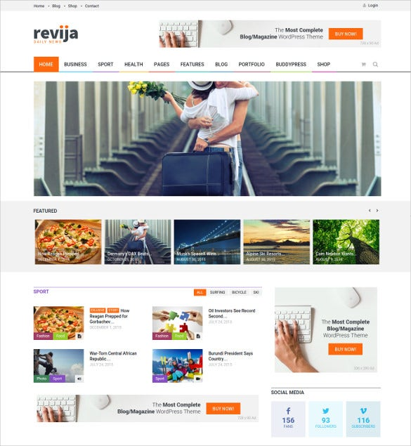 revija – blog magazine wordpress blog theme