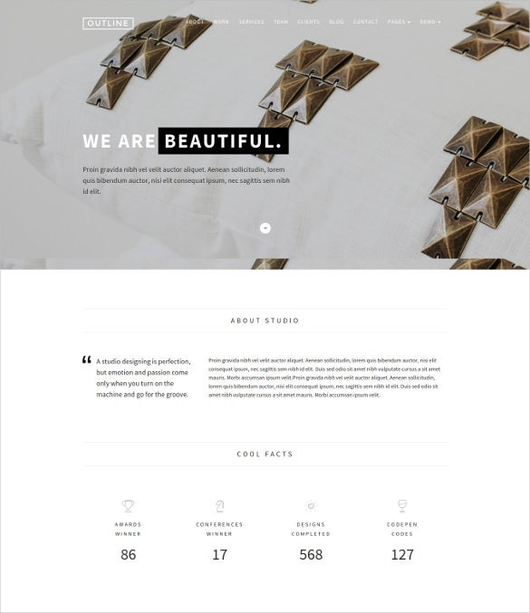 outline creative wordpress blog theme