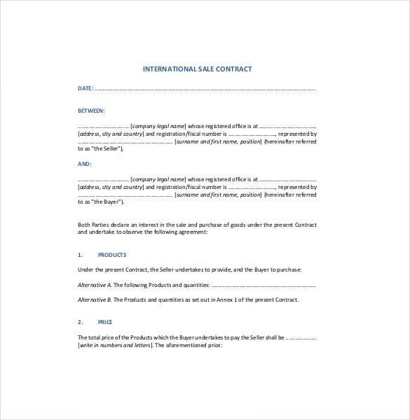 International Sales Contract Agreement Template PDF Format Download