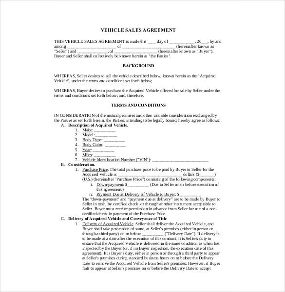 Sales Agreement Template   Free Word Pdf Document Download