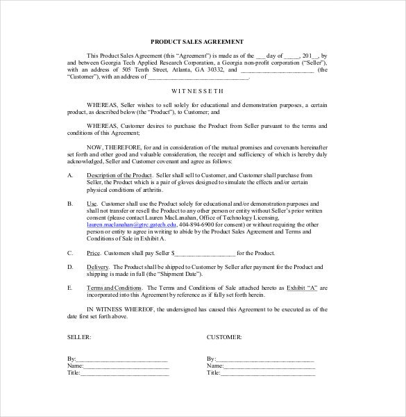 Product Sales Agreement Template PDF Format Download